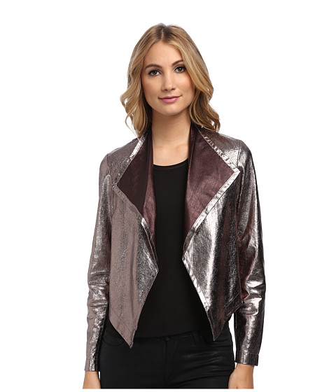 Nicole Miller - Non-Stretch Leather Jacket (Gold Multi) Women's Jacket