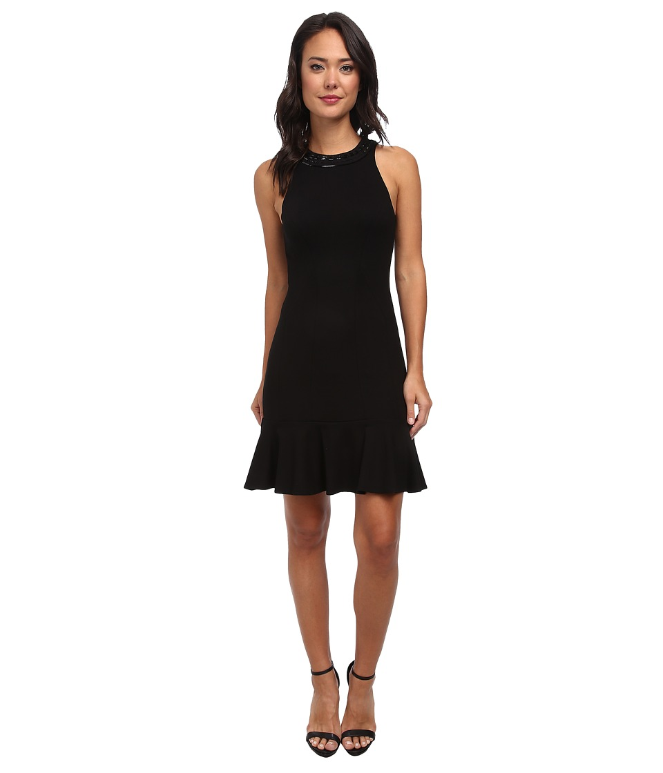 Nicole Miller - Tight Fitting Ponte Dress w/ Flare at Bottom (Black) Women's Dress