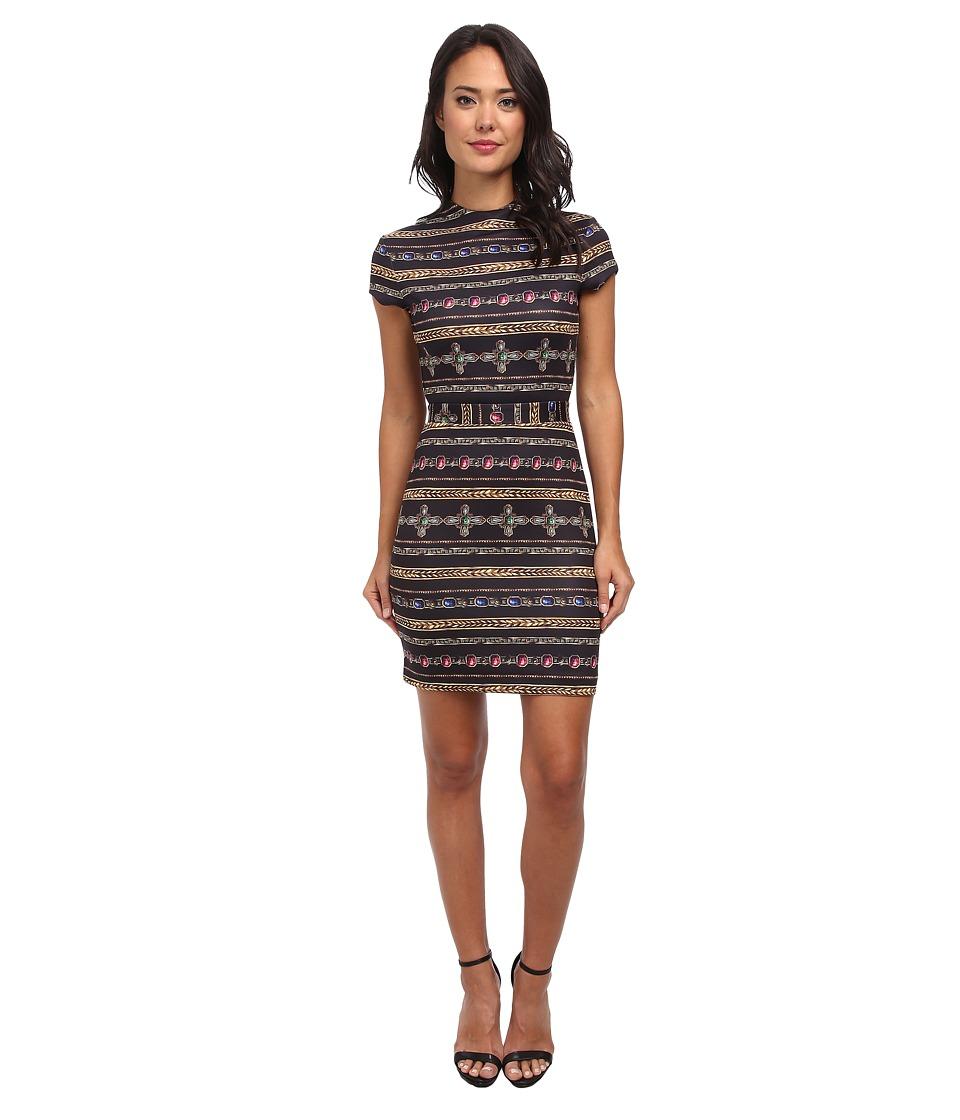 Nicole Miller - Short Sleeve Gilded Stripe-Neoprene Dress (Black Multi) Women