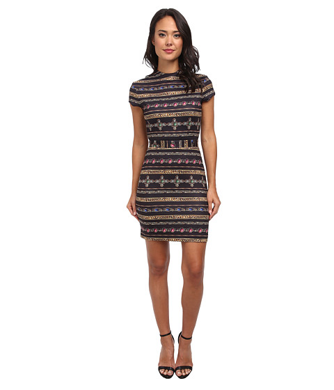 Nicole Miller - Short Sleeve Gilded Stripe-Neoprene Dress (Black Multi) Women's Dress