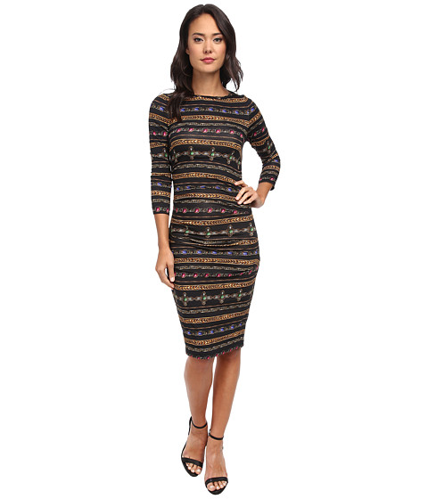 Nicole Miller - Quarter Length Sleeve Gilded Stripe-Stretch Jersey Dress (Black Multi) Women