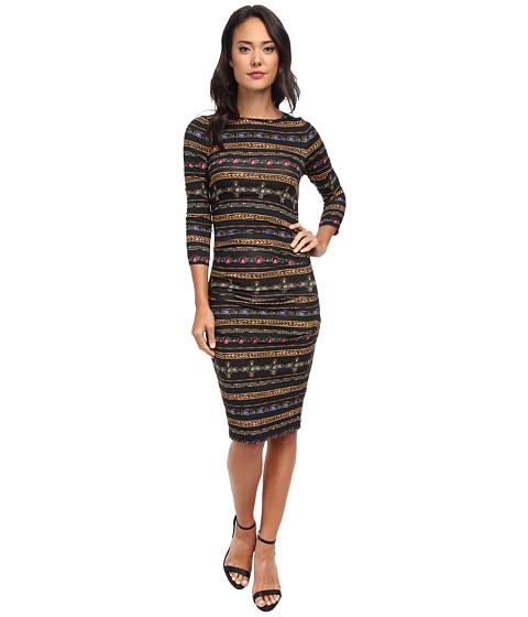 Nicole Miller - Quarter Length Sleeve Gilded Stripe-Stretch Jersey Dress (Black Multi) Women