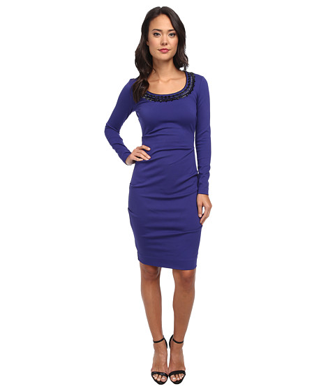 Nicole Miller - Long Sleeve Ponte Dress w/ Detail on Neckline (Sapphire) Women