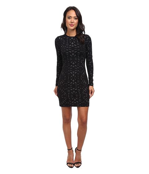 Nicole Miller - Metallic Swirl Knit Long Sleeve Mini Dress (Black) Women's Dress