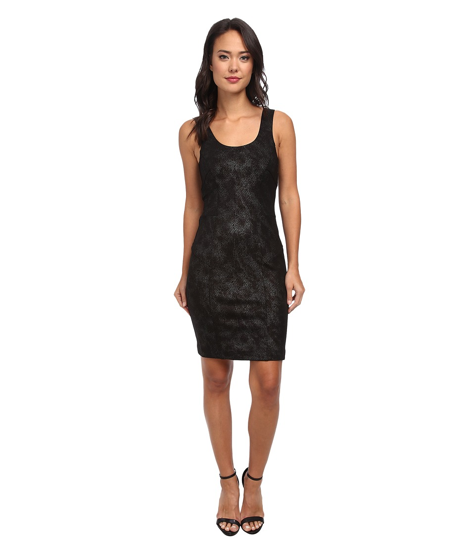 Nicole Miller Foil Twill Ponte Dress (Black Multi) Women
