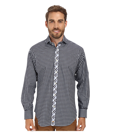 Thomas Dean & Co. - Bold Classic Check L/S Woven Shirt (Navy) Men's Long Sleeve Button Up