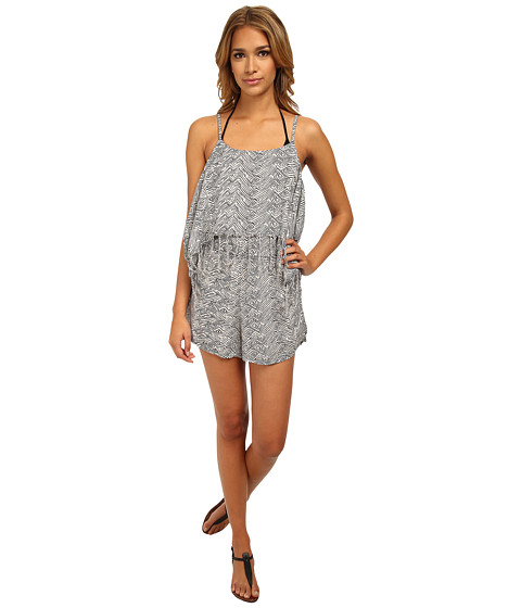 Volcom - Urban Tribe Romper Cover-Up (White) Women's Swimsuits One Piece