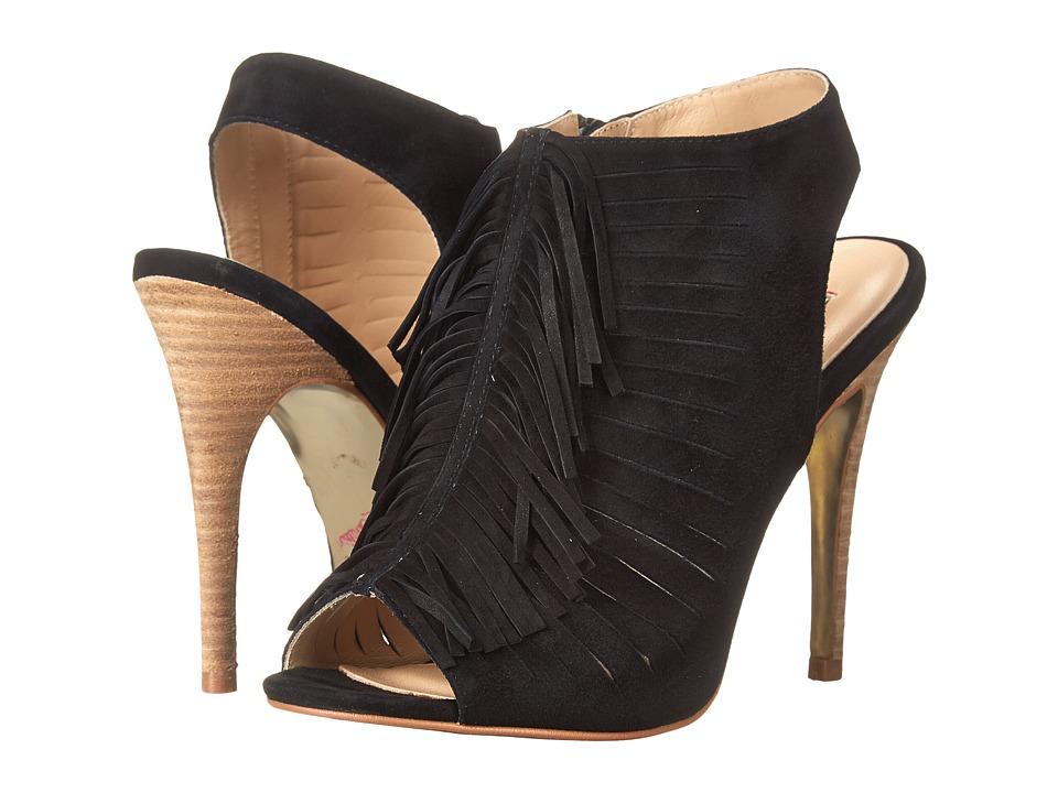 Kristin Cavallari - Lindy Fringe Heel (Black Kid Suede) High Heels