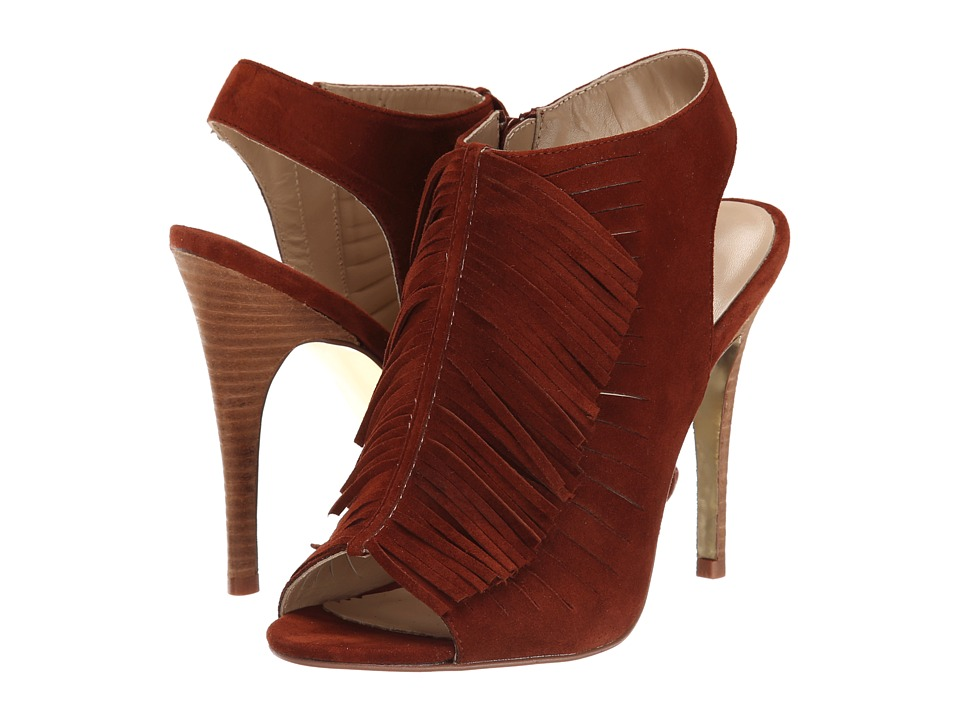 Kristin Cavallari - Lindy Fringe Heel (Rust Suede) High Heels