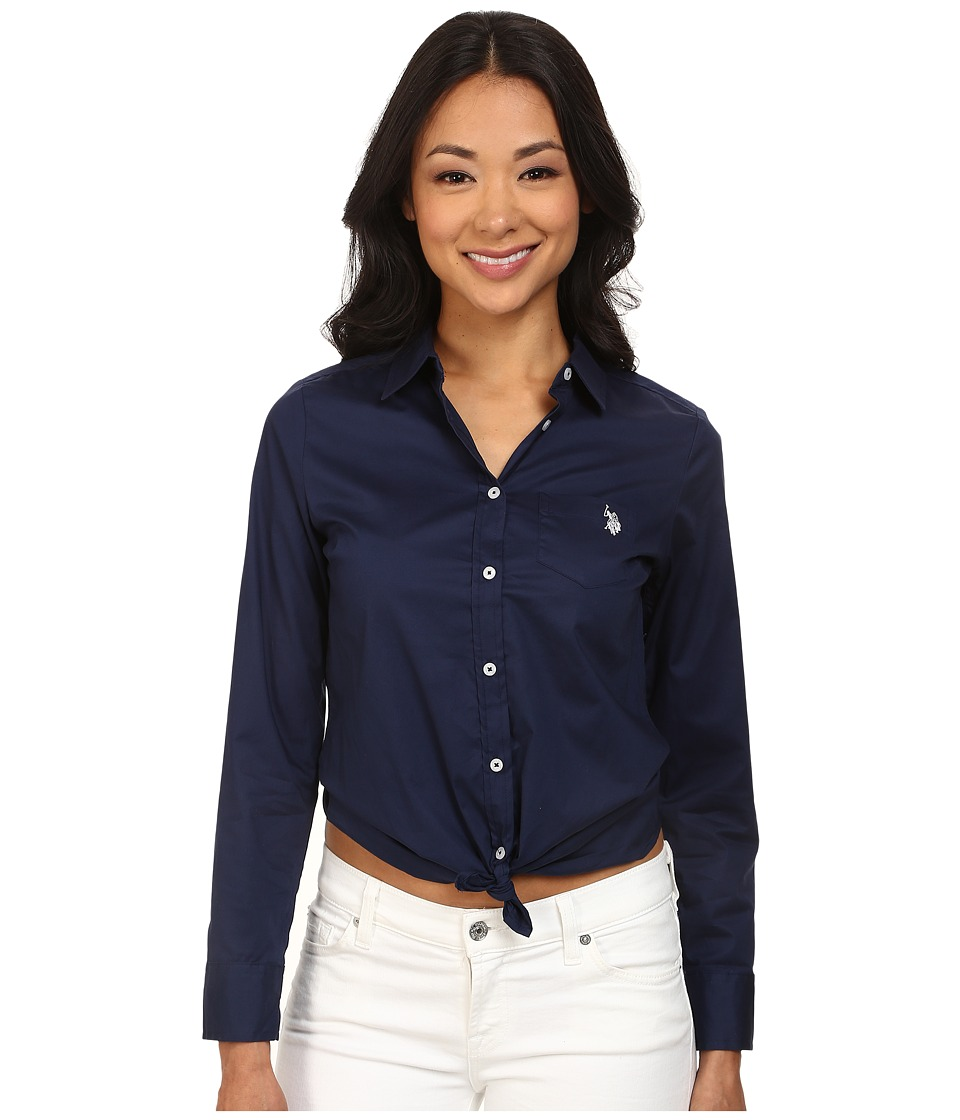 U.S. POLO ASSN. - Solid Single Pocket Long Sleeve Shirt (Tribal Navy) Women's Long Sleeve Button Up