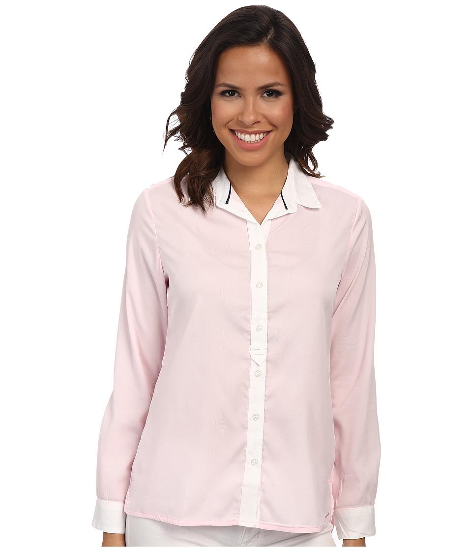 U.S. POLO ASSN. - Crepe De Chine Long Sleeve Shirt (Coastal Pink) Women's Clothing