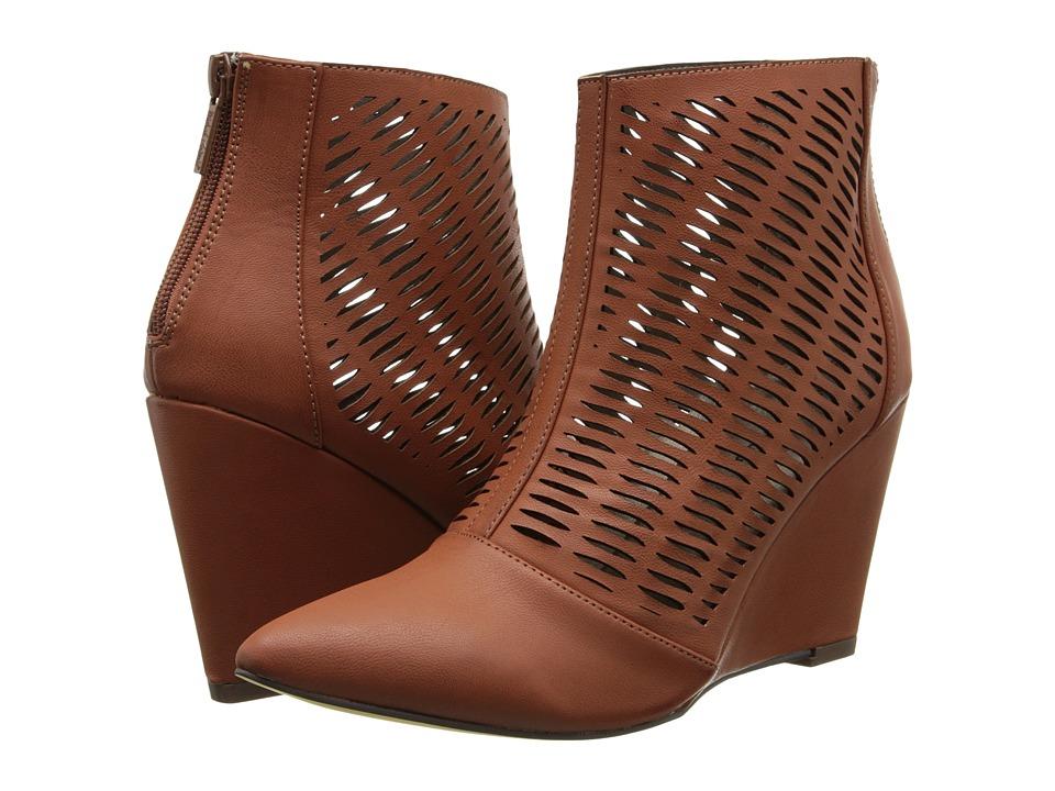 Michael Antonio - Cindy (Cognac Brush PU) Women's Wedge Shoes