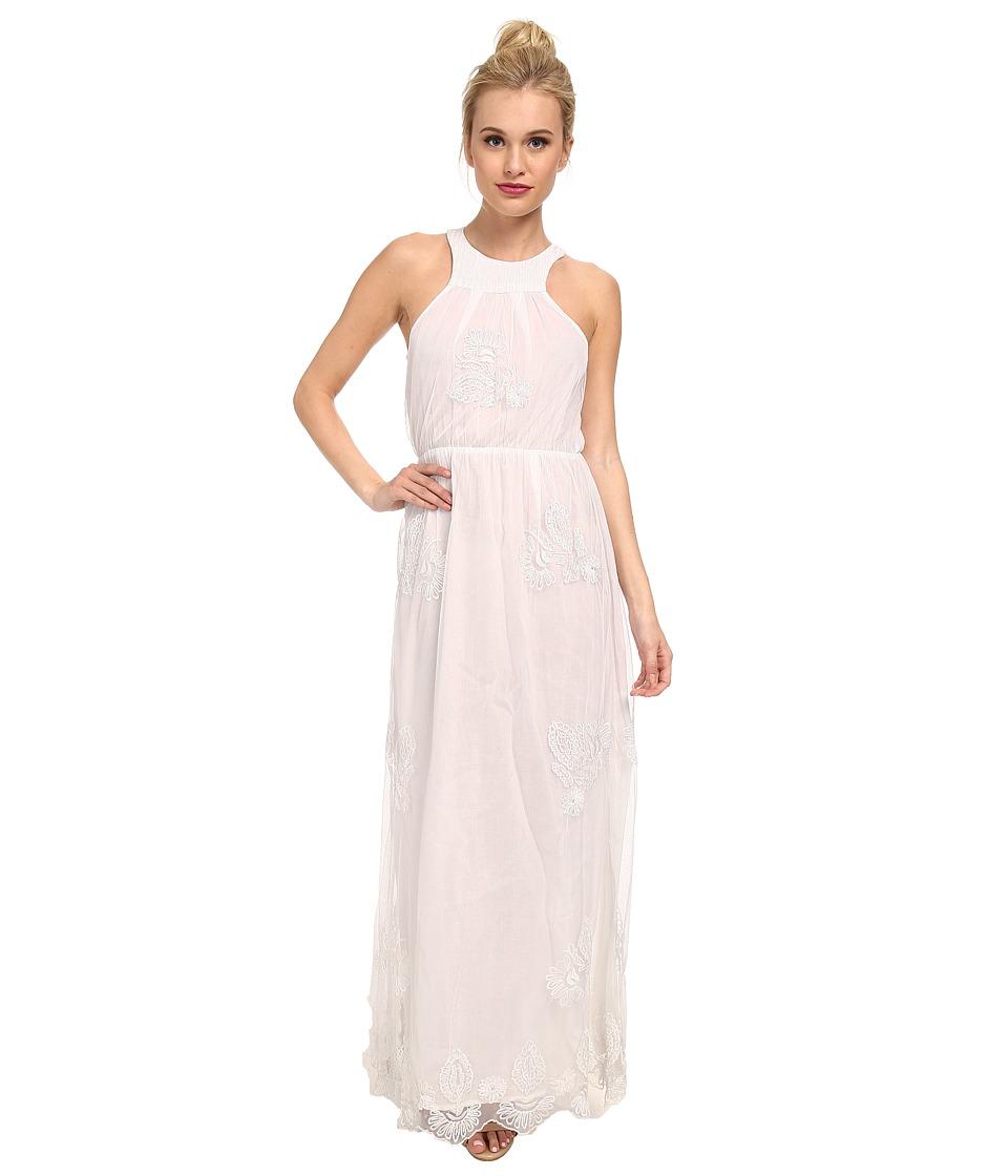 KAS New York - Jetta Embroiderd Mesh Maxi (White) Women's Dress