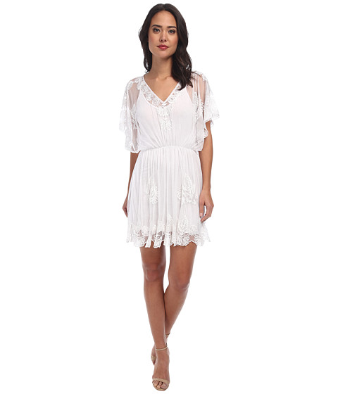 KAS New York - Kayi Embroidered Mesh Dress w/ Slip (White) Women