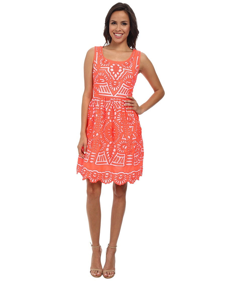 KAS New York - Cutwork Fit and Flare Dress (Coral) Women's Dress