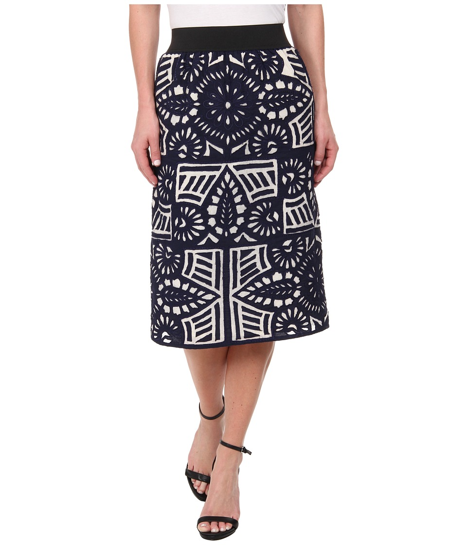 KAS New York - Espoir Cutwork Pencil Skirt (Navy) Women's Skirt plus size,  plus size fashion plus size appare