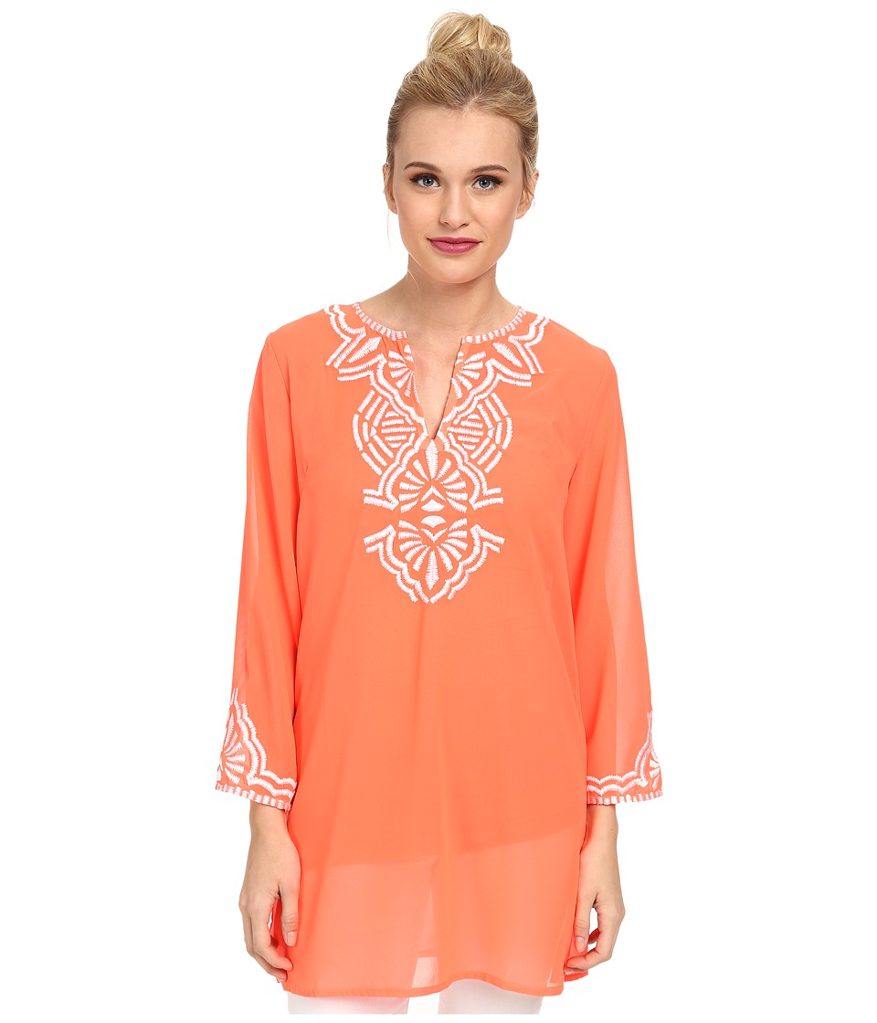KAS New York - Purity Embroidered Tunic (Coral) Women's Blouse