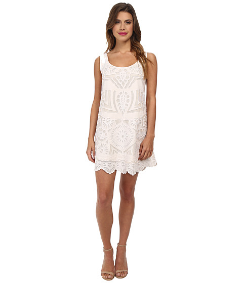 KAS New York - Sanjana Cutwork Shift Dress (Natural) Women's Blouse