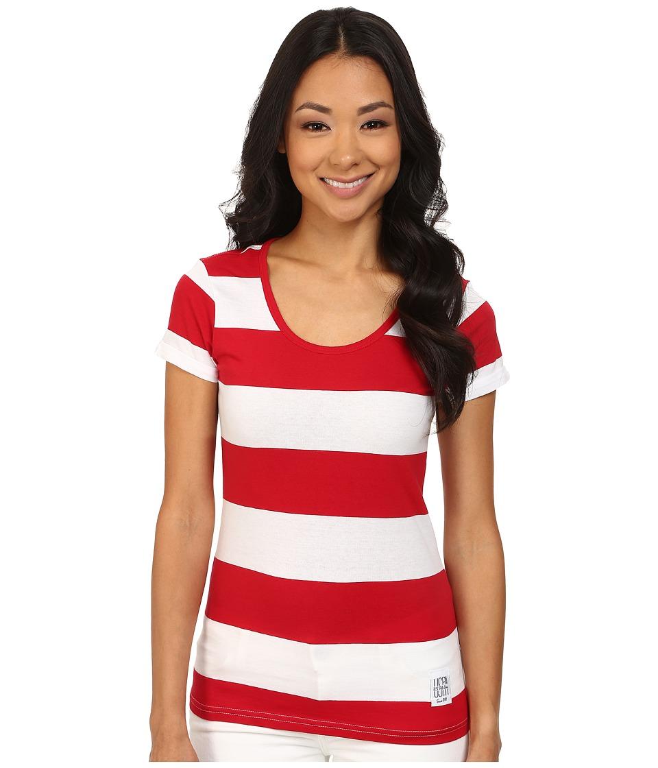 U.S. POLO ASSN. - Wide Stripe T-Shirt (Tomato Check) Women's T Shirt