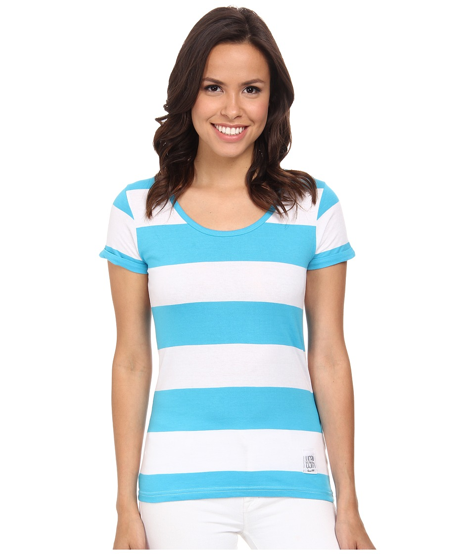 U.S. POLO ASSN. - Wide Stripe T-Shirt (Surf Blue) Women