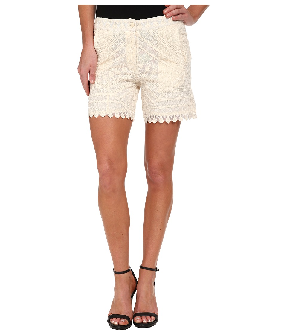 KAS New York - Sibelle Embroidered High Waist Shorts (Natural) Women's Shorts