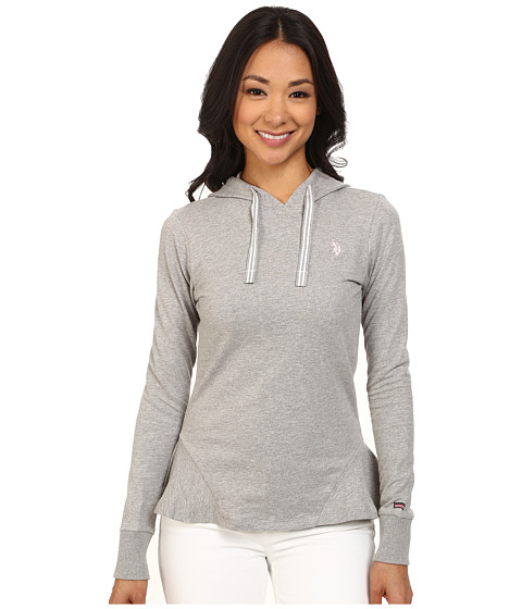 U.S. POLO ASSN. - French Terry Hoodie (Heather Grey) Women's Sweatshirt