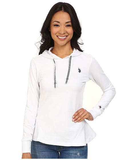 U.S. POLO ASSN. - French Terry Hoodie (Optic White) Women's Sweatshirt