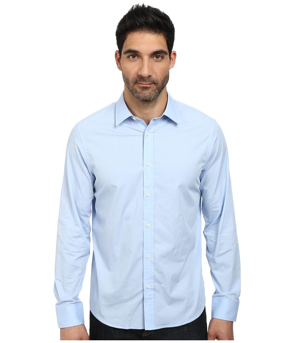 Michael Kors - Poplin Tailored Shirt (Steel Blue) Men's Long Sleeve Button Up