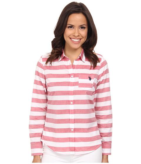 U.S. POLO ASSN. - Poplin Horizontal Stripe Shirt (Tomato Check) Women