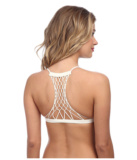 MIKOH SWIMWEAR - Maui Crocheted Detail Racerback Top (Bone) Women's Swimwear