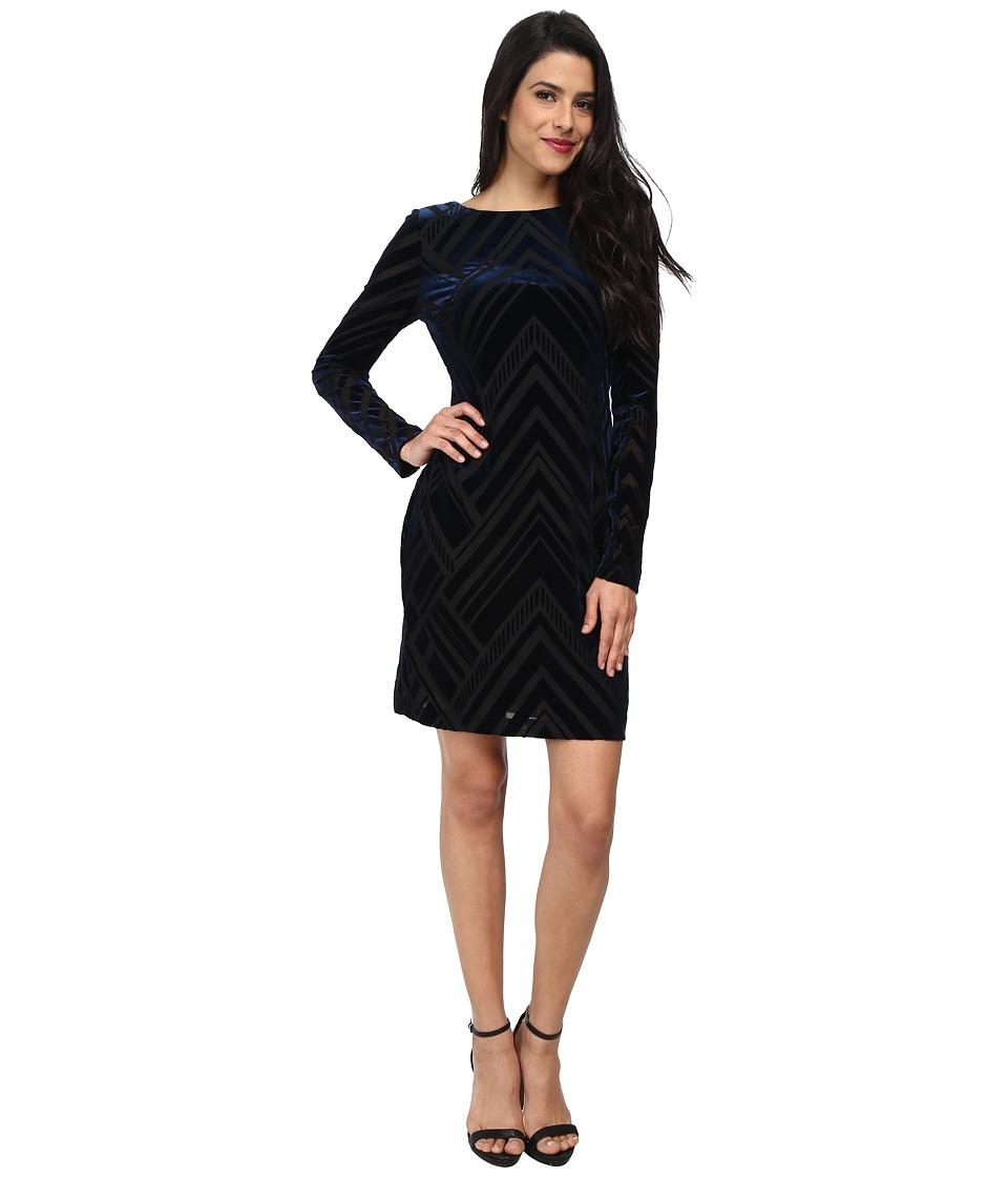 Vince Camuto - Long Sleeve Tee Dress (Navy/Black) Women's Dress