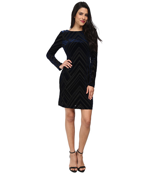 Vince Camuto - Long Sleeve Tee Dress (Navy/Black) Women's Dress