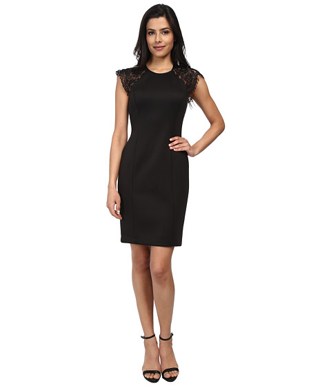 Vince Camuto - Fitted Body Con with Lace Short Sleeves (Black) Women