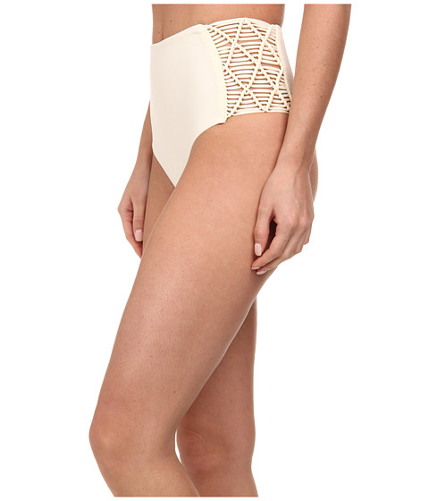 MIKOH SWIMWEAR - Rarotonga High Waisted Bottom with Side Woven Details (Bone) Women