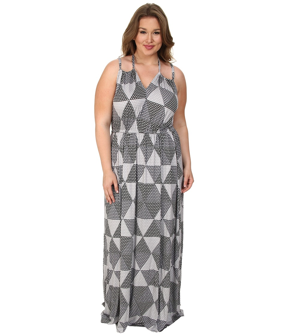 Rachel Pally Plus - Plus Size Kiku Dress White Label Print (Cement Hexagon) Women's Dress