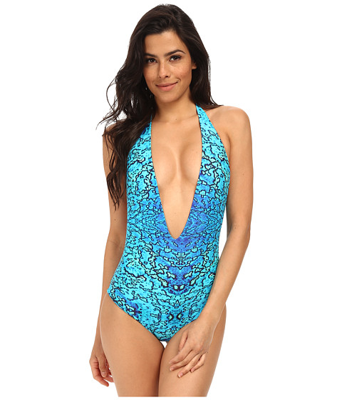MIKOH SWIMWEAR - Hinano Low V-Cut Halter One-Piece with Boy Short Fit (Reef) Women