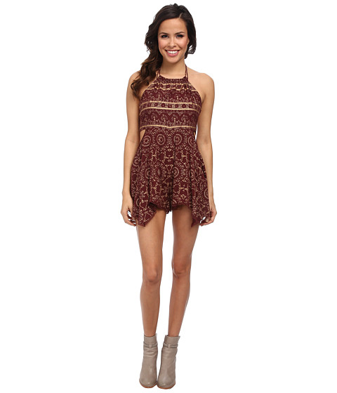 Free People - Open Side Print Romper (Wine) Women
