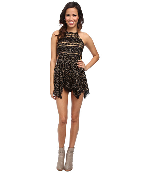 Free People - Open Side Print Romper (Black) Women