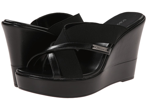 BCBGeneration - Quest (Black New Soft Metallic/Stretch) Women's Wedge Shoes