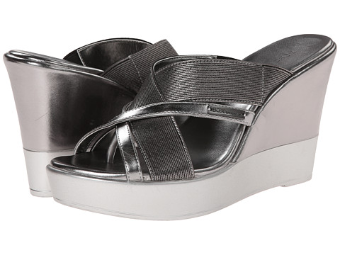 BCBGeneration - Quest (Anthracite New Soft Metallic/Stretch) Women's Wedge Shoes
