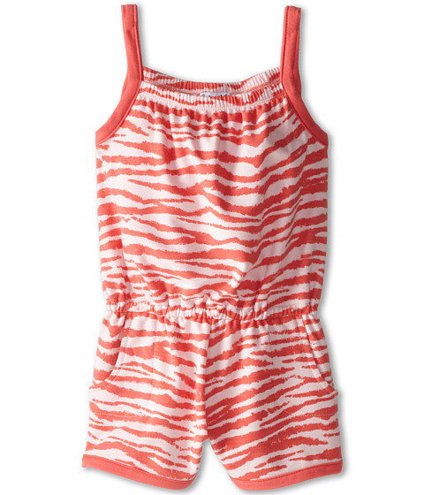 Splendid Littles - Directional Print Zebra Romper (Little Kids) (Coral) Girl's Jumpsuit & Rompers One Piece