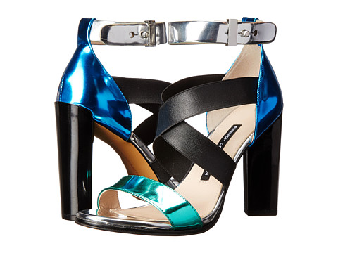 French Connection - Melody (Aqua Metallic/Black/Silver/Blue Metallic) High Heels