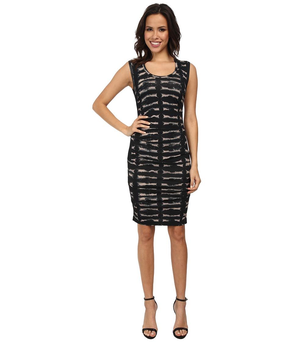 Nicole Miller - Tie-Dye Smudge Jersey Dress (Black Multi) Women's Dress