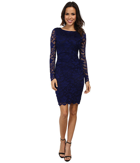 Nicole Miller - Flower Scroll Stretch Lace Dress (Royal Blue) Women's Dress