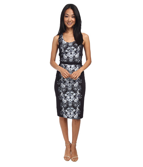Nicole Miller - Ghost Flower Crepe Combo Dress (Black/White) Women's Dress