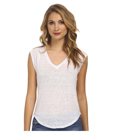 C&C California - Linen Jersey Muscle Tee (White) Women's Sleeveless