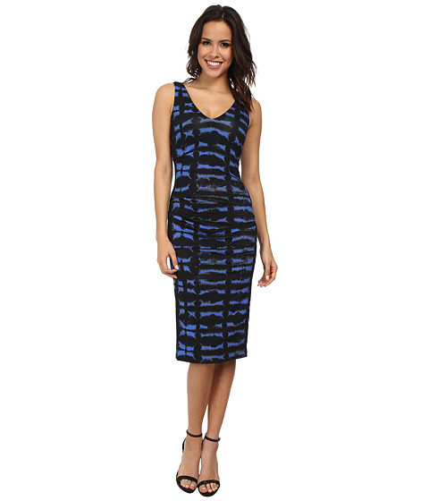 Nicole Miller - Tie-Dye Smudge Jersey V-Neck Dress (Blue Multi) Women