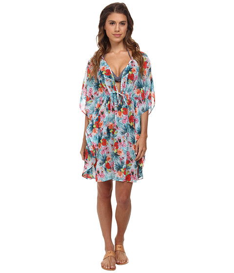 Bleu Rod Beattie - Island Time Caftan Cover-Up (Aqua/Coral) Women's Swimwear