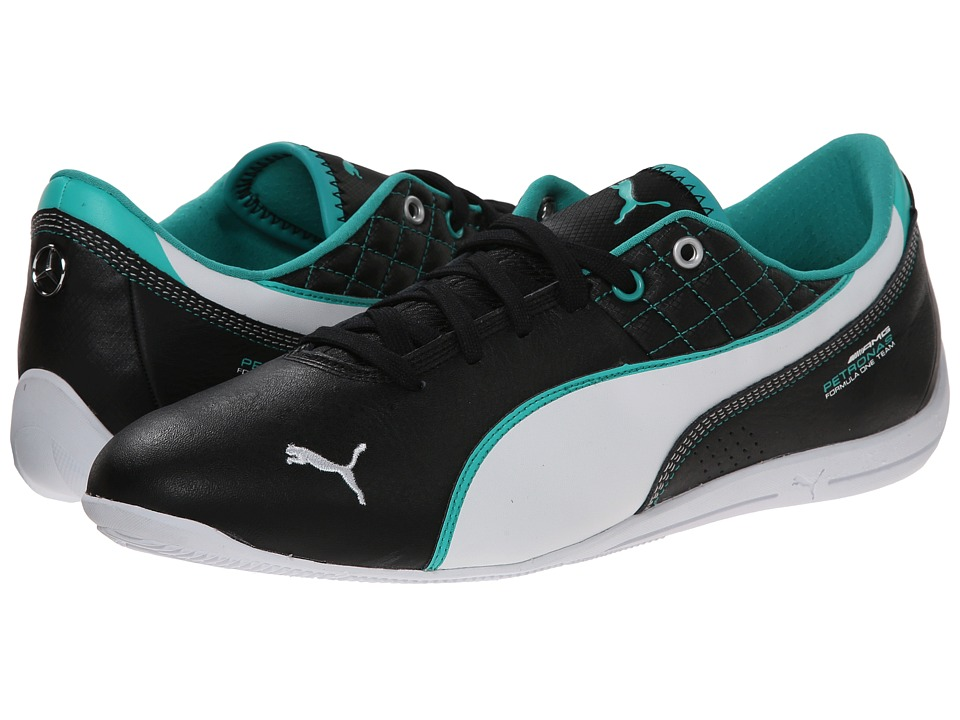 PUMA - MAMGP Drift Cat 6 Leather (Black/White/Spectra Green) Men's Shoes
