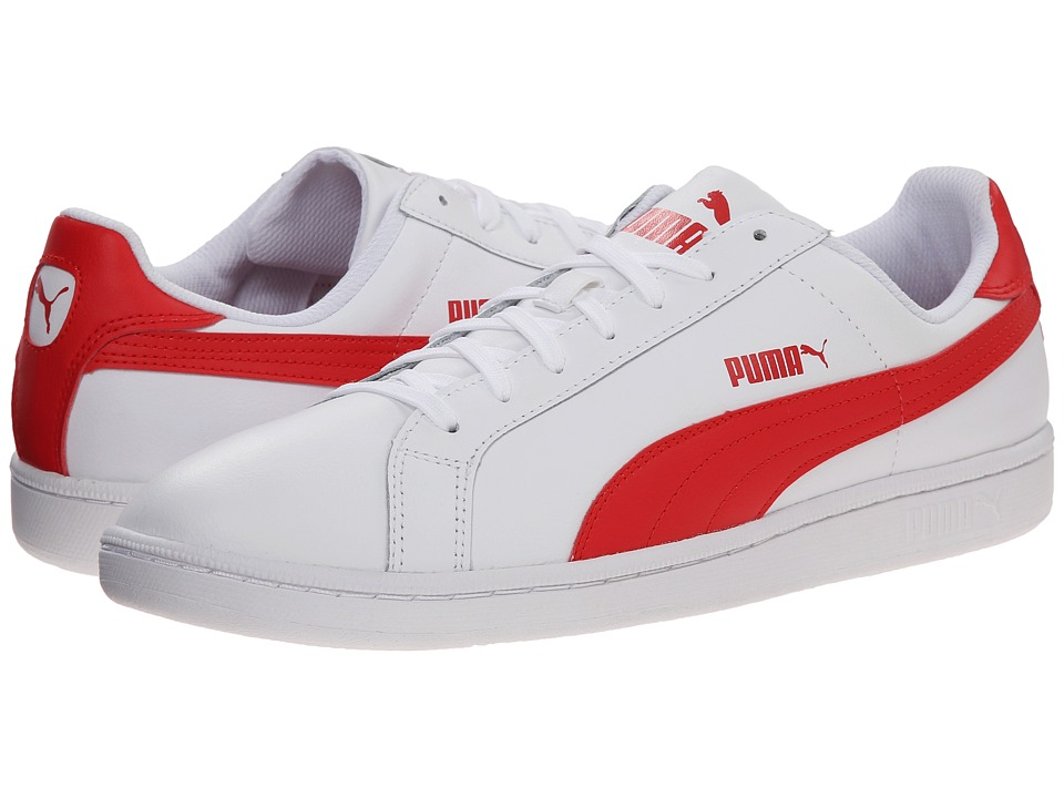 PUMA - Smash L (White/High Risk Red) Men's Shoes